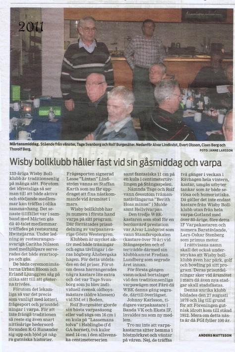 Visby bollklubb gåsmiddag 2011
